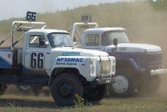 Trucks racing on unpaved track. Tyumen. Russia Royalty Free Stock Photography