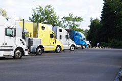 Commercial trucks at rest area Stock Photography