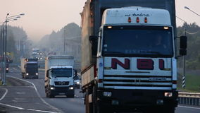Trucks on on the road stock video footage