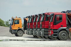 Trucks, rollers and machinery for asphalting. Horizontal image Royalty Free Stock Photos