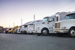 Trucks in a row. Different american trucks in a row Royalty Free Stock Photos