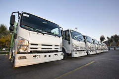 Trucks in a row. New trucks in a row Stock Photo
