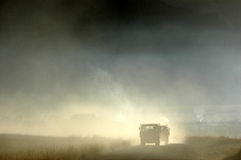 Trucks running in the morning  fog Royalty Free Stock Photography
