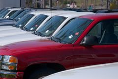 Trucks for sale. New autos and trucks for sale Stock Image