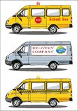 Trucks school bus, delivery, taxi Stock Images