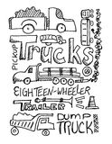 Trucks Scribble Royalty Free Stock Photo