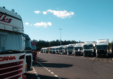 Trucks on security park on europe. French motorway security park.Diesel and cargo robbery it happens everyday on european roads Stock Photo