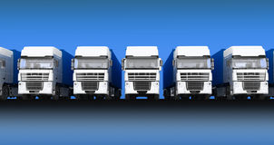 Trucks with semi-trailer on blue sky background Stock Photos