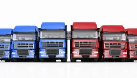 Trucks with semi-trailer Stock Photo