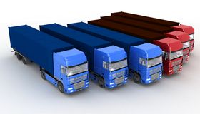 Trucks with semi-trailer Royalty Free Stock Images