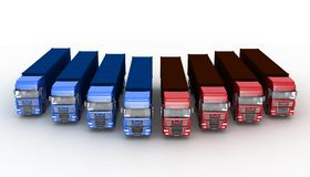 Trucks with semi-trailer Stock Photo