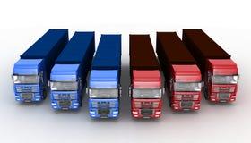 Trucks with semi-trailer  on white Stock Photos