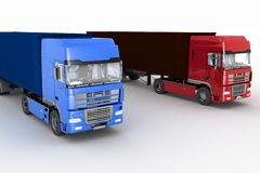 Trucks with semi-trailer Royalty Free Stock Image