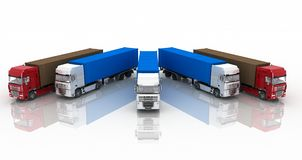 Trucks with semi-trailer on white Royalty Free Stock Photography