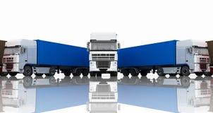 Trucks with semi-trailer on white background Stock Photos