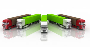 Trucks with semi-trailer Royalty Free Stock Photography