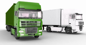 Trucks with semi-trailer on white background Royalty Free Stock Images