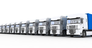 Trucks with semi-trailer on white Stock Images