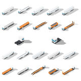 Trucks with semitrailers detailed isometric icon set, front and rear view Stock Image