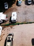 Trucks settlement. Aerial view of camping in Stockholm stock photo