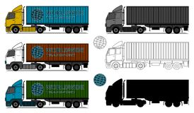 Trucks with shipping containers Stock Photos