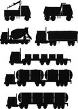 Trucks silhouette set Stock Photo