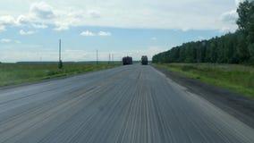 Trucks stand on the roadside stock video