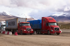 Trucks Standing on Bolivian-Chilean Border Royalty Free Stock Photo