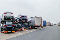 Trucks standing at Reast Area Highway Germany royalty free stock image