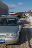 Trucks stopped on highway after heavy snow storm Stock Photography