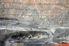 Trucks in Super Pit gold mine Australia. Trucks in Super Pit gold mine, Kalgoorlie, Western Australia Stock Photography