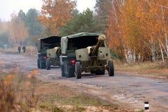 Trucks towed artillery guns Royalty Free Stock Photos