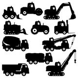 Trucks and tractors. Vector set of trucks and tractors  on white background Stock Images