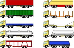 Trucks and trailers set stock illustration