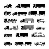 Trucks, trailers and vehicles icons set. Isolated on white stock illustration