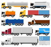 Trucks and trailers. On a white background. Delivery and shipping cargo trucks and semi-trucks. For infographics or design Stock Images