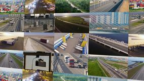 Trucks and transport collage. Highway and delivering. Warehouse. Trucks and transport collage. Highway and delivering stock video footage