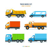 Trucks for transportation of goods, gazelle, car for transportation people. Royalty Free Stock Photos