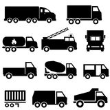 Trucks and transportation icon set Royalty Free Stock Photo