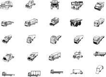 Trucks. Twenty-five 3D projections trucks Stock Photography