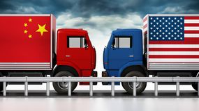 Trucks with USA and China flags come across in narrow road. 3D illustration vector illustration