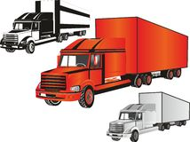 Trucks. Vector trucks in different colors Royalty Free Stock Photography