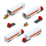 Trucks Vector isometric transport. Commercial Vehicle. Delivery truck. Flat style vector illustration delivery service Royalty Free Stock Photos