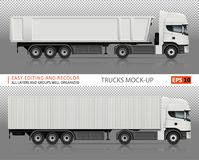 Trucks vector mock-up. Trucks vector mock-up for advertising, corporate identity. Isolated lorry template on transparent background. Vehicle branding mockup Royalty Free Stock Image