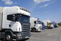 Trucks waiting for cargo load Stock Image