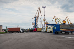 Trucks waiting in line at the port of transhipment. Royalty Free Stock Photos
