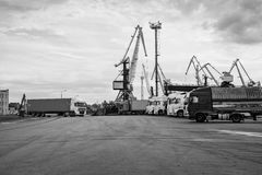 Trucks waiting in line at the port of transhipment. Stock Photos