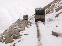 Trucks was running on the road on the mountains Royalty Free Stock Image