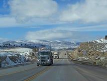 Trucks on winter highway Stock Photo