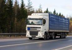 Trucktor trailer truck. On background of trees of Trucks series in my portfolio Stock Image